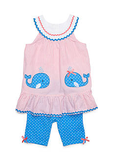 Nannette Seersucker Whale Top and Short Set Girls 4-6x