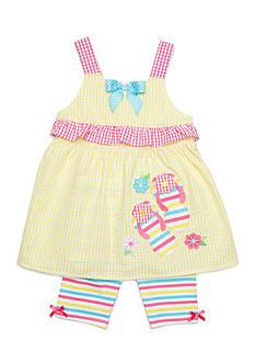 Nannette Seersucker Flip Flop Top and Shorts Set Girls 4-6x