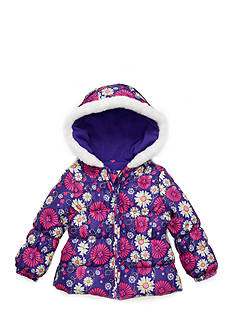 London Fog® Floral Print Puffer Jacket and Scarf Girls 4-6x