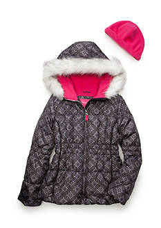London Fog Printed Puffer Jacket With Hood Girls 7-16