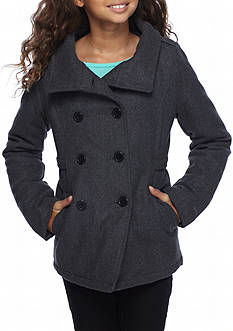London Fog Double Breasted Wool Peacoat Girls 7-16