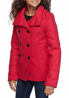 London Fog® Double Breasted Wool Peacoat Girls 7-16
