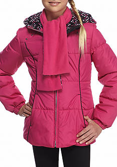 London Fog Puffer Jacket with Printed Scarf