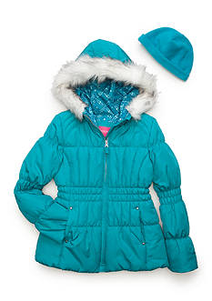London Fog Solid Puffer Jacket with Hood Girls 7-16
