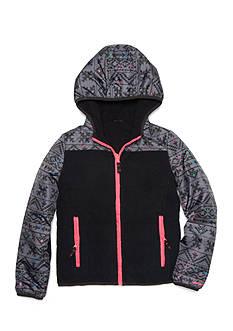 London Fog Reversible Abstract Print Fleece Jacket Girls 7-16