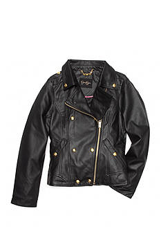 Jessica Simpson Faux Leather Military Jacket Girls 7-16