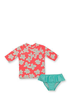 Carter's® 2-Piece Floral Rash Guard and Ruffle Bottom Swimsuit Girls 4-6x
