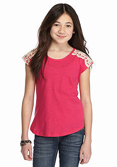 One Step Up High Low Crochet Trim Top Girls 7-16