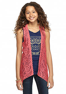 One Step Up 2-Piece Owl Tank Top and Crochet Cozy Girls 7-16