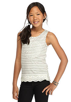 One Step Up Heart Stripe Crochet Tank Top Girls 7-16