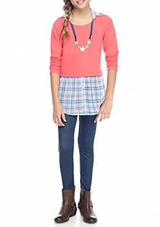 One Step Up 2-Piece Plaid and Solid Chiffon Top and Legging Set Girls 7-16