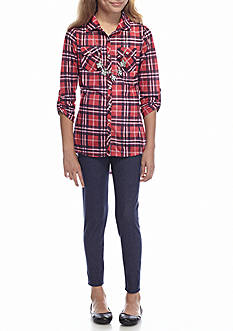 One Step Up 2-Piece Plaid Tunic and Legging Set Girls 7-16