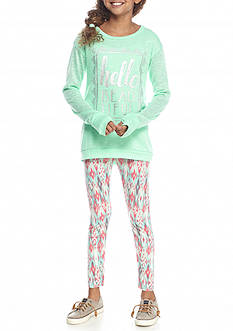 One Step Up 2-Piece Hacci Top and Printed Legging Set Girls 7-16