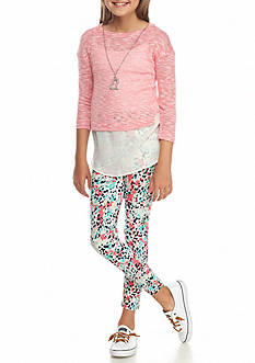 One Step Up Boucle Knit Top and Printed Legging Set Girls 7-16