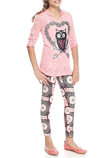 One Step Up 2-Piece Owl Boucle Hoodie and Printed Legging Set Girls 7-16