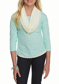 One Step Up Solid Top Ivory Crochet Scarf Girls 7-16
