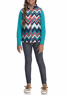 One Step Up Puffer Vest and Long Sleeve Top with Leggings 3-Piece Set Girls 7-16