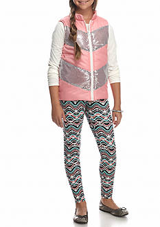 One Step Up Puffer Vest with Long Sleeve Top and Leggings 3-Piece Set Girls 7-16