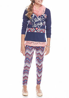 One Step Up 3-Piece 'Love Always' Top, Crochet Scarf and Printed Legging Set Girls 7-16