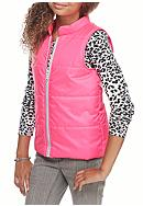 One Step Up Solid Puffer Vest with Leopard Shirt