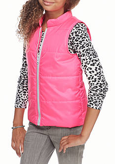 One Step Up Solid Puffer Vest with Leopard Shirt 2-Piece Set Girls 7-16