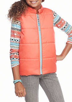 One Step Up Solid Puffer Vest and Aztec Print Shirt 2-Piece Set Girls 7-16