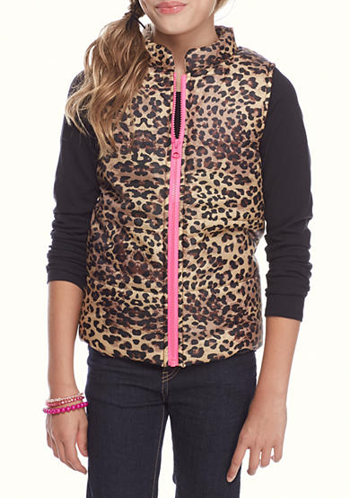 One Step Up Leopard Puffer Vest with Solid Tee Shirt 2-Piece Set Girls 7-16