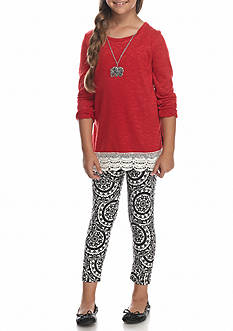 One Step Up Crochet Hem Top and Printed Leggings with Necklace 2-Piece Set Girls 7-16