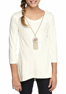 One Step Up Yummy Ruffle Hem Top with Necklace Girls 7-16