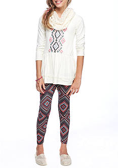 One Step Up Aztec Front Ruffle Top with Printed Legging and Crochet Scarf 2-Piece Set Girls 7-16