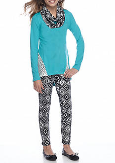 One Step Up Crochet Side Top with Printed Legging Pants and Scarf 3-Piece Set Girls 7-16
