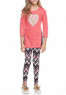 One Step Up Heart Top and Chevron Legging with Necklace 2-Piece Set Girls 7-16