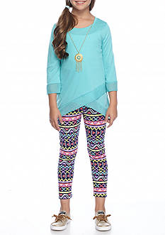 One Step Up Top and Printed Legging 2-Piece Set With Necklace Girls 7-16