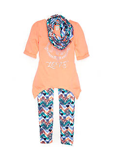 One Step Up Coral and Elephant Print Legging Set Girls 7-16