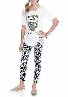 One Step Up Owl Top and Printed Legging 2-Piece Set Girls 7-16