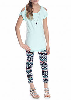 One Step Up 2-Piece Cold Shoulder Top And Legging With Necklace Set Girls 7-16