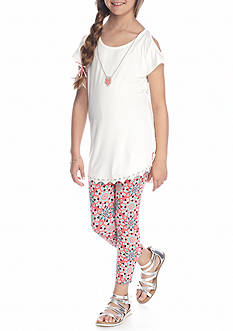 One Step Up 2-Piece Cold Shoulder Top And Printed Legging With Necklace Set Girls 7-16