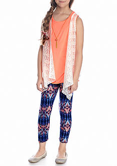 One Step Up 3-Piece Top, Vest And Printed Legging With Necklace Set girls 7-16
