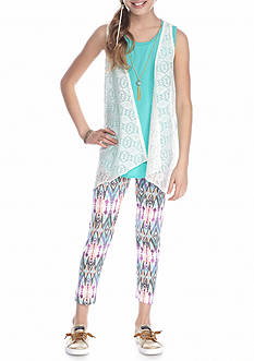 One Step Up 3-Piece Top, Vest And Printed Legging With Necklace Girls 7-16
