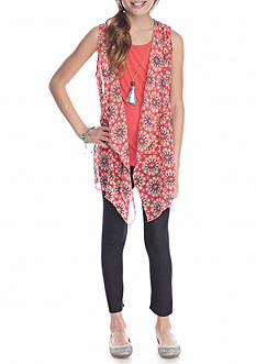 One Step Up 3-Piece Top, Floral Vest And Legging With Necklace Set Girls 7-16