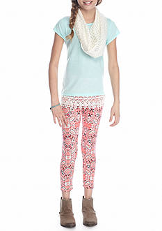 One Step Up Tunic and Printed Legging with Scarf 3-Piece Set Girls 7-16