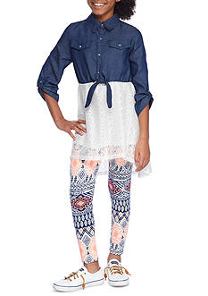 One Step Up Chambray Tunic and Legging 2-Piece Set Girls 7-16