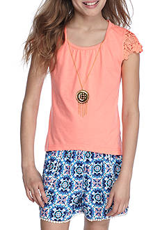 One Step Up 2-Piece Top And Printed Shorts Set Girls 7-16