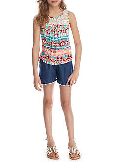 One Step Up Printed Tank and Chambray Shorts Girls 7-16
