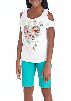 One Step Up Graphic Cold Shoulder Top and Bermuda Short 2-Piece Set Girls 7-16