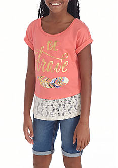 One Step Up Graphic Top and Bermuda Short 2-Piece Set Girls 7-16