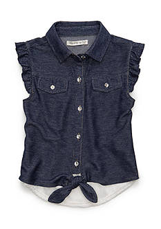 One Step Up Lace Back Denim Top Girls 4-6x