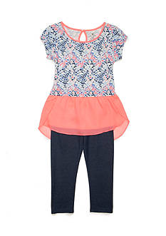 One Step Up Chiffon Popover Top and Leggings 2-Piece Set Girls 4-6x