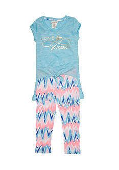 One Step Up Twist Tie Top and Printed Leggings 2-Piece Set Girls 4-6x