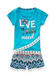One Step Up 'Love is all you need' Top and Challis Short 2-Piece Set Girls 4-6x